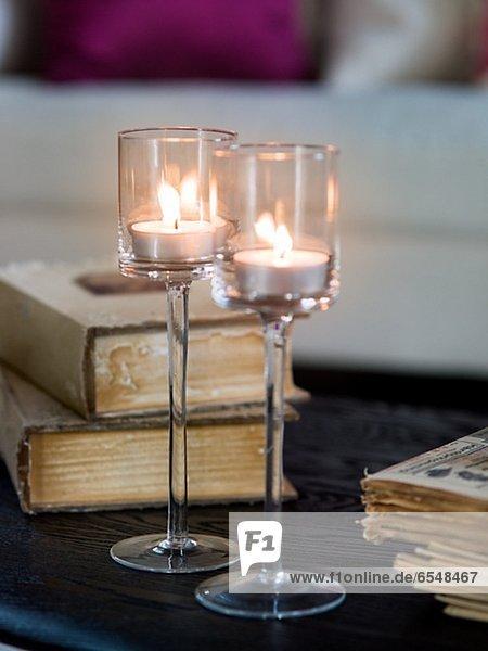 Glas Beleuchtung Licht Close-up Tisch Tee