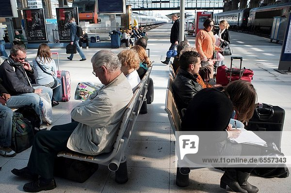 Paris  France  People Waiting for Train on Platform in Gare du Nord Train Station