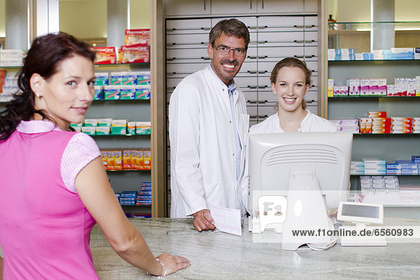 Germany  Brandenburg  Pharmacist smiling  portrait