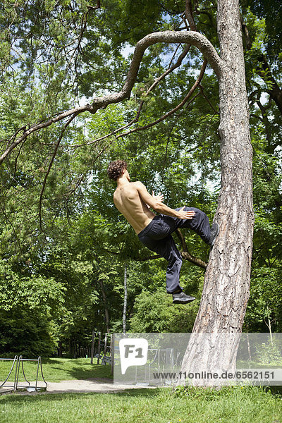Young man doing parcour training in park