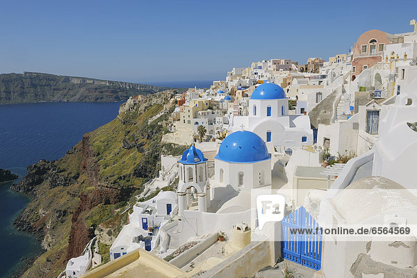 Greece  Santorini  View of classical whitewashed church and bell tower at Oia