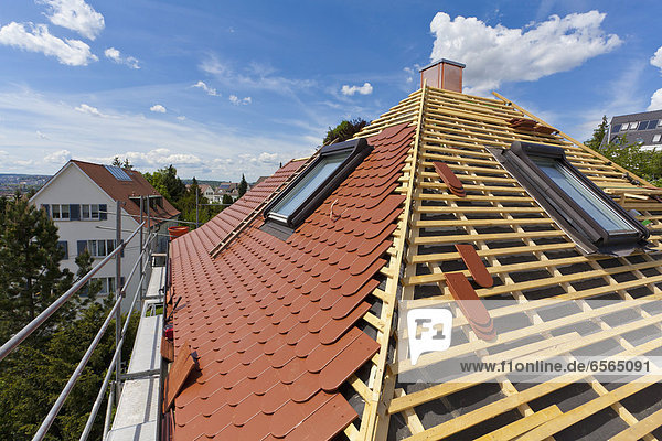 Germany  Baden-Wuerttemberg  Stuttgart  Construction of roof