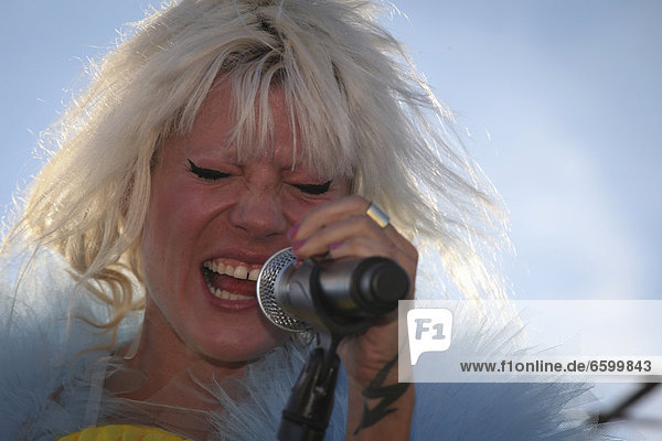 Mieze Katz  frontwoman of MIA  performing live during the On the Rooftops Festival 2012  Berlin  Germany  Europe