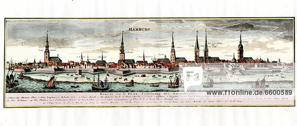 Historische Stadtansicht von Hamburg  Stich  koloriert  keine weiteren Angaben  vor 1805