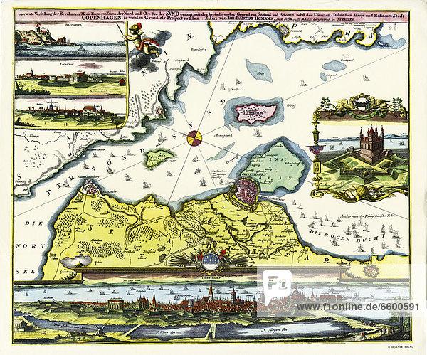 Historische Karte von Kopenhagen und dem Sund von Johann Baptist Homann  gedruckt in Nürnberg  Homann  1730-40. Titel: Accurate Vorstellung der Berühmten Meer Enge zwischen der Nord und Ost See der Sunt genant