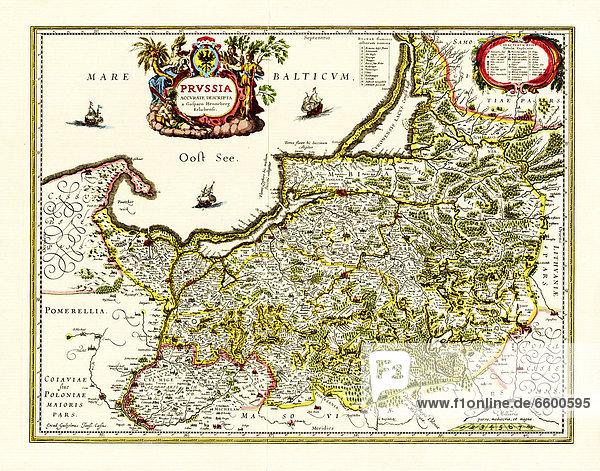 Historische Karte von Preußen  erstellt 1576 in Elbing von Caspar Henneberg von Erlich (* 1529  ? 1600)  später von anderen Kartografen weiterbenutzt  u.a. de:Blaeu.