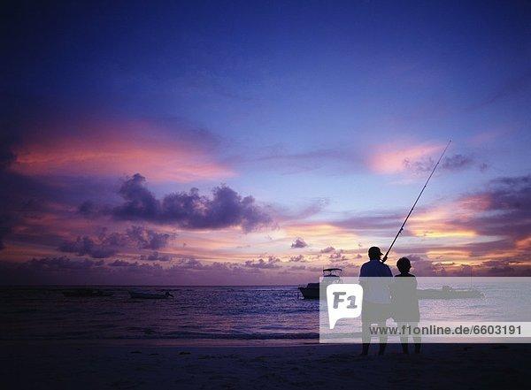 sehen  Sonnenuntergang  angeln  Stange
