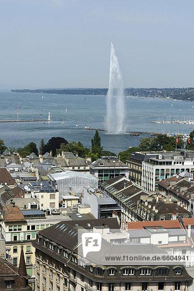 Blick auf den Genfersee mit Jet d'eau  Genf  Schweiz  Europa