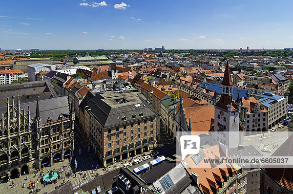 View from St. Peter's Church  Alter Peter  to Marienplatz square and the New Town Hall  Munich  Upper Bavaria  Bavaria  Germany  Europe