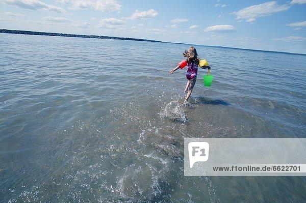 rennen  Meer  jung  Mädchen