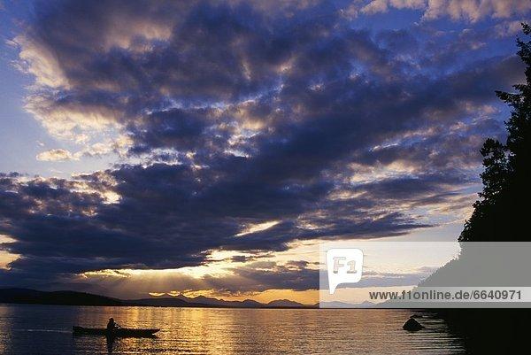 Kayaking At Sunset  Galiano Island  British Columbia  Canada