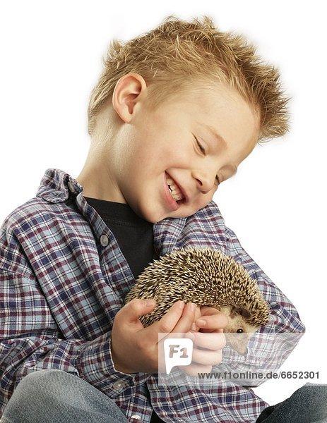 Junge - Person  halten  Igel