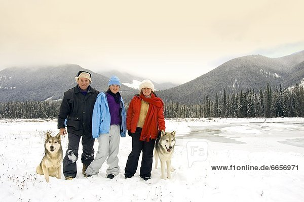 Australian Tourists In British Columbia  Canada  Standing Next To Wolves