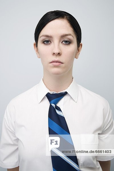 Frau  Hemd  Krawatte