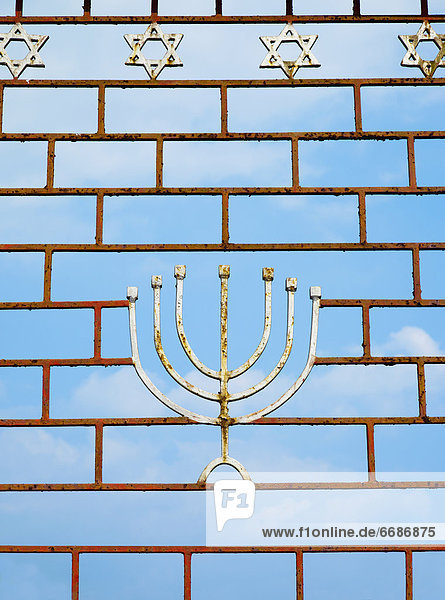 Jewish Gate With a Menorah
