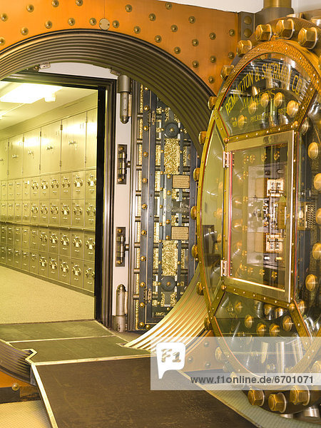 Bank Vault Doors Leading to Safety Deposit Boxes