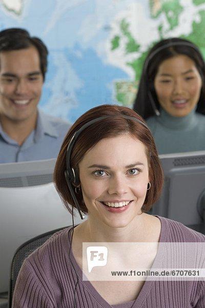 benutzen  Telefon  Headset