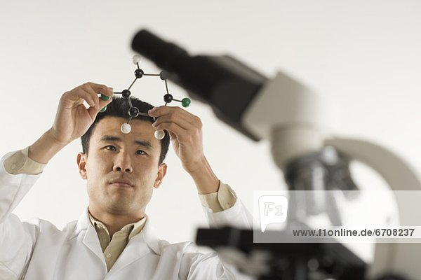 Wissenschaftler  Modell  halten  Molekül  Mikroskop