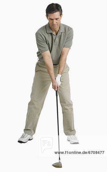 Mann  schießen  Studioaufnahme  Golfsport  Golf  spielen