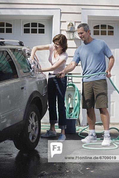 Auto waschen Fahrweg