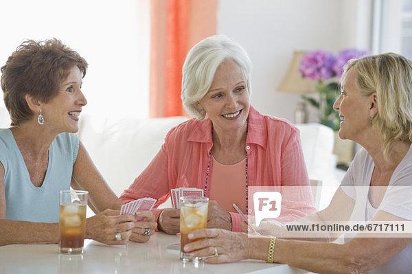 Senior women socializing
