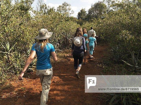 Hikers Near Giraffe Manor  Nairobi  Kenya  Africa