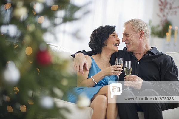 Fröhlichkeit Zeit Weihnachten reifer Erwachsene reife Erwachsene