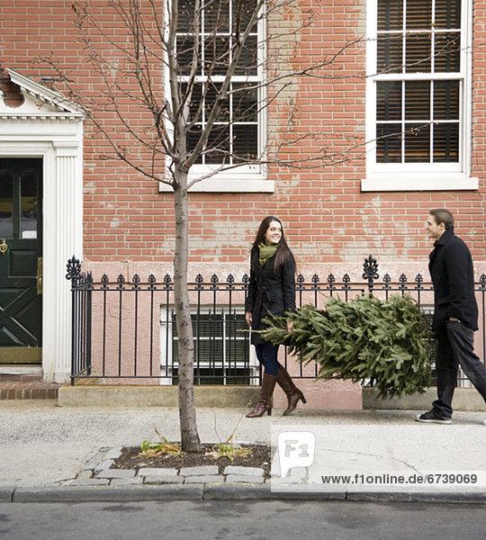 Städtisches Motiv  Städtische Motive  Straßenszene  Straßenszene  tragen  Baum  Weg  Weihnachten