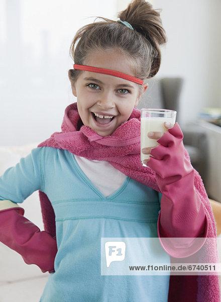 hoch oben Superheld Kleidung jung Mädchen