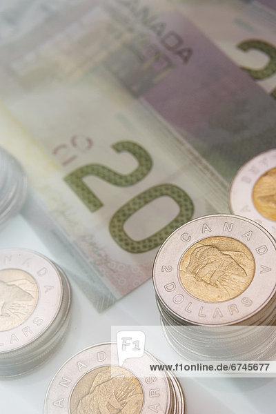 Euromünze  Dollar  Rechnung  20