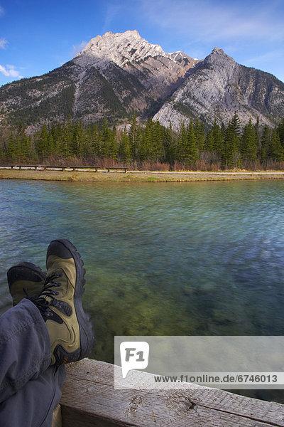 Hiker Resting Feet  Kananaskis Alberta