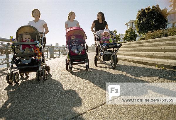 Frau  gehen  Kinderwagen