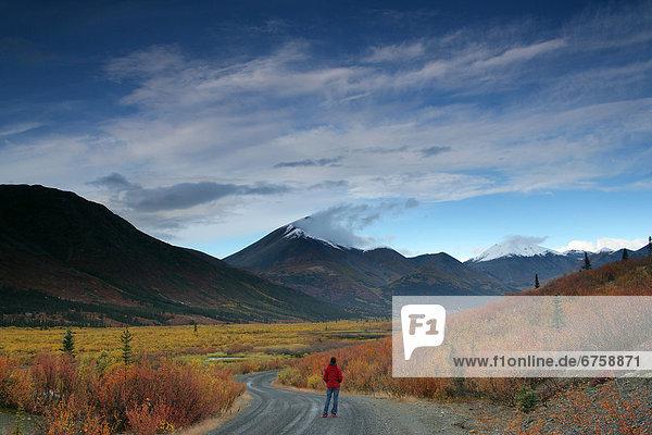 Frau  gehen  Fernverkehrsstraße  Herbst  Yukon