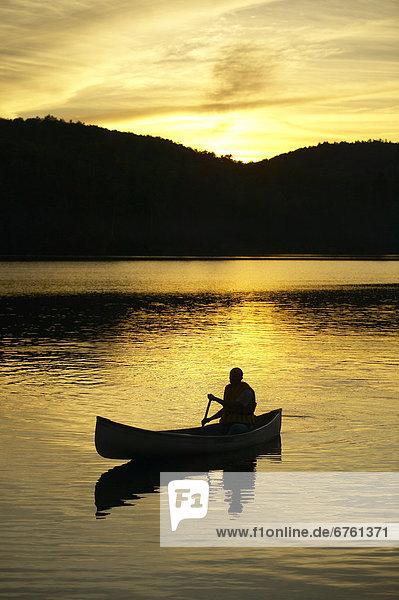 Sonnenuntergang  Silhouette  Kanute  Quebec