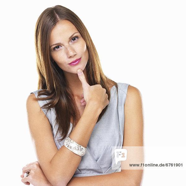 Portrait  Frau  jung  Nachdenklichkeit  Studioaufnahme