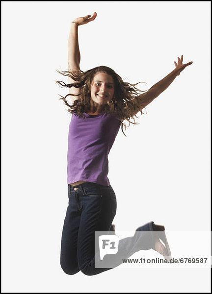 Frau  weiß  springen  Hintergrund