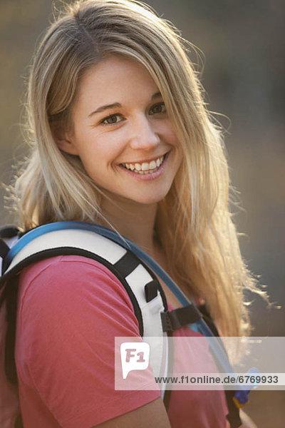 USA  Utah  portrait of young hiking woman