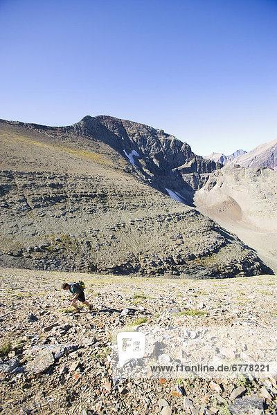 USA  Montana  Glacier National Park  Mid adult man hiking