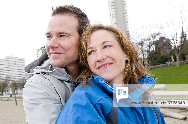 Couple at Beach in Winter  Vancouver  British Columbia