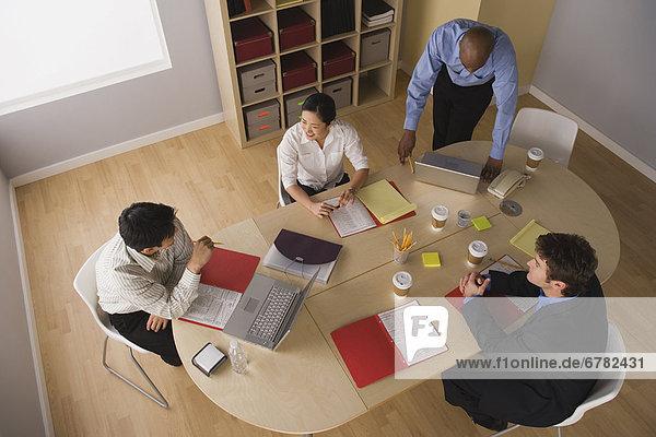 Geschäftsbesprechung  Ansicht  Erhöhte Ansicht  Aufsicht  heben  Tisch  Konferenz