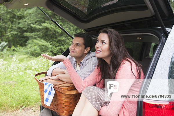 sitzend  Auto  Picknick  Korb  Kofferraum sitzend ,Auto ,Picknick ,Korb ,Kofferraum