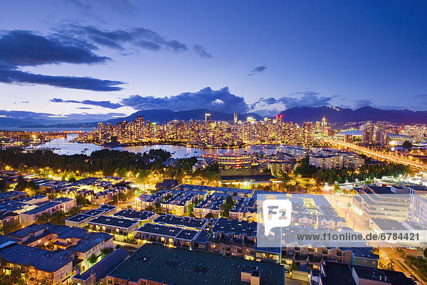 City skyline at dusk  Vancouver British Columbia
