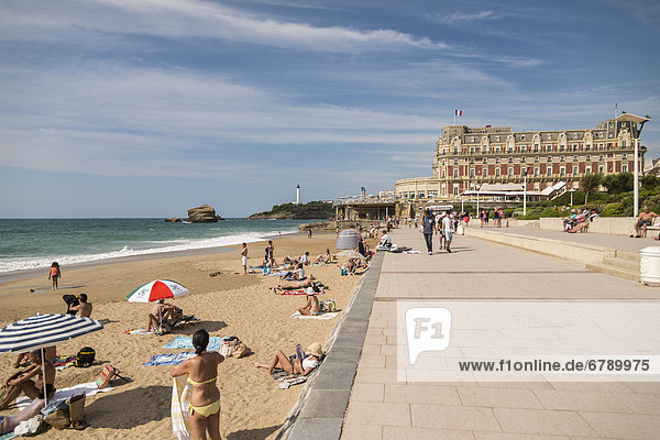 Grand Plage  beach  Biarritz  Aquitaine  France  Europe  PublicGround