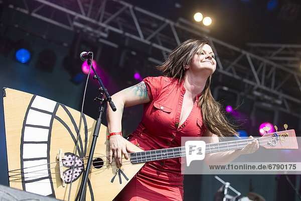 Marianne Sveen with a balalaika from the Norwegian girl band Katzenjammer performing live at Heitere Open Air in Zofingen  Aargau  Switzerland  Europe