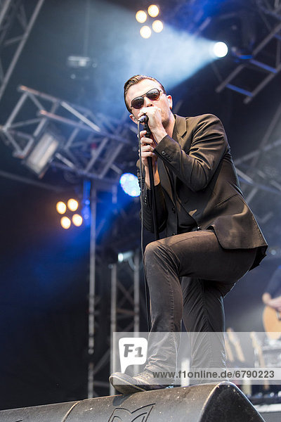 Singer Theo Hutchcraft from the British synth-pop band Hurts performing live at Heitere Open Air in Zofingen  Aargau  Switzerland  Europe