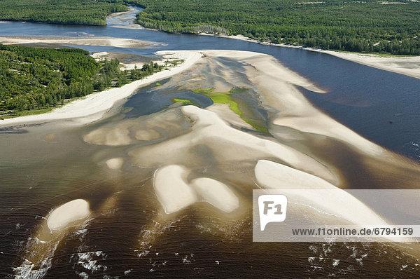 Flussmündung mit Sandbänken  Luftaufnahme  Pwani Region  Tansania  Afrika