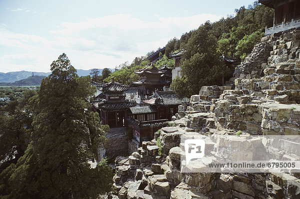 Sommer Landschaft Hügel Palast Schloß Schlösser Peking Hauptstadt China