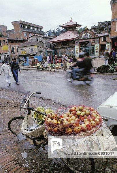 Kathmandu  Hauptstadt  Frucht  beladen  Fahrrad  Rad  Markt  Nepal