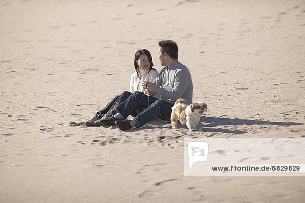 Couple with dog sitting on beach  smiling
