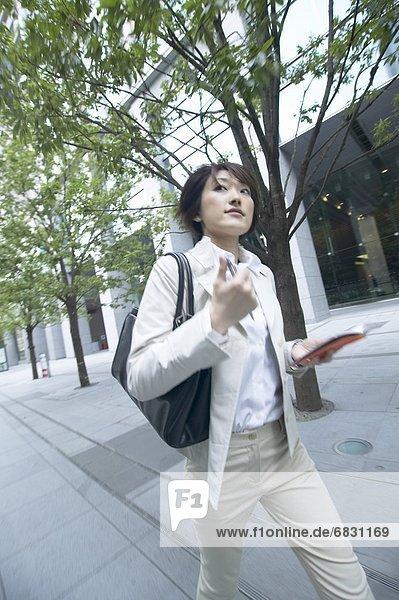 Geschäftsfrau  gehen  halten  Tagebuch